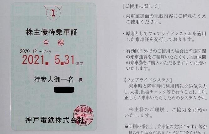 神戸電鉄優待 株主優待乗車証 定期型