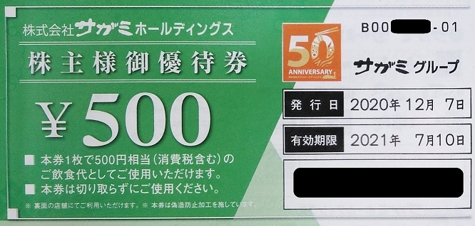 サガミホールディングス優待 株主優待券500円