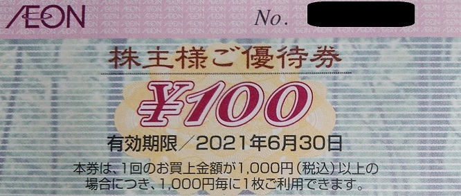 イオン北海道優待 株主優待券(100円券)