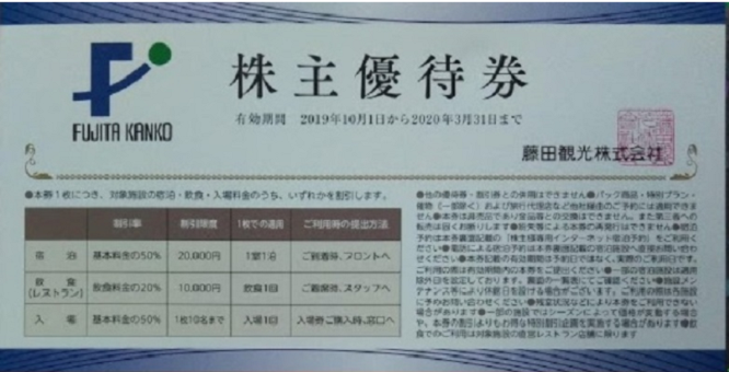 藤田観光 株主優待券