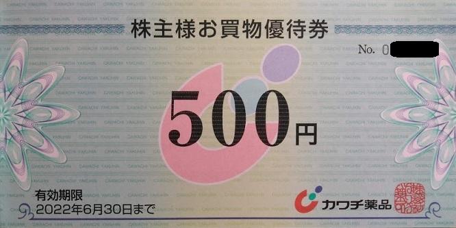 カワチ薬品優待 株主様お買物優待券(500円券)