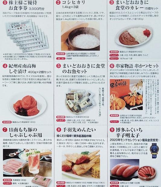 フジオフード優待 選択商品内容(食事券・米・PB商品)